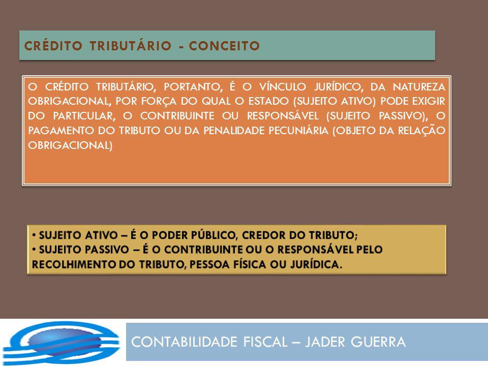 CONTABILIDADE FISCAL – JADER GUERRA CRÉDITO TRIBUTÁRIO - CONCEITO O CRÉDITO TRIBUTÁRIO, PORTANTO, É O VÍNCULO JURÍDICO, DA NATUREZA OBRIGACIONAL, POR