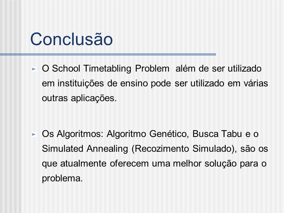 Conclusão O School Timetabling Problem além de ser utilizado em instituições de ensino pode ser utilizado em várias outras aplicações. Os Algoritmos: