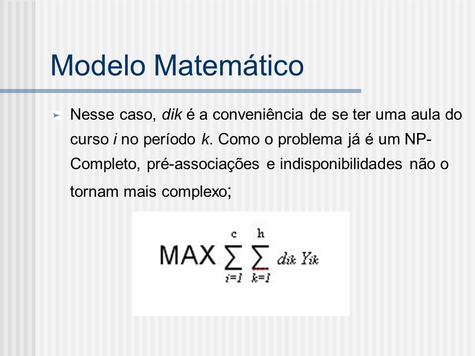 Modelo Matemático Nesse caso, dik é a conveniência de se ter uma aula do curso i no período k. Como o problema já é um NP- Completo, pré-associações e