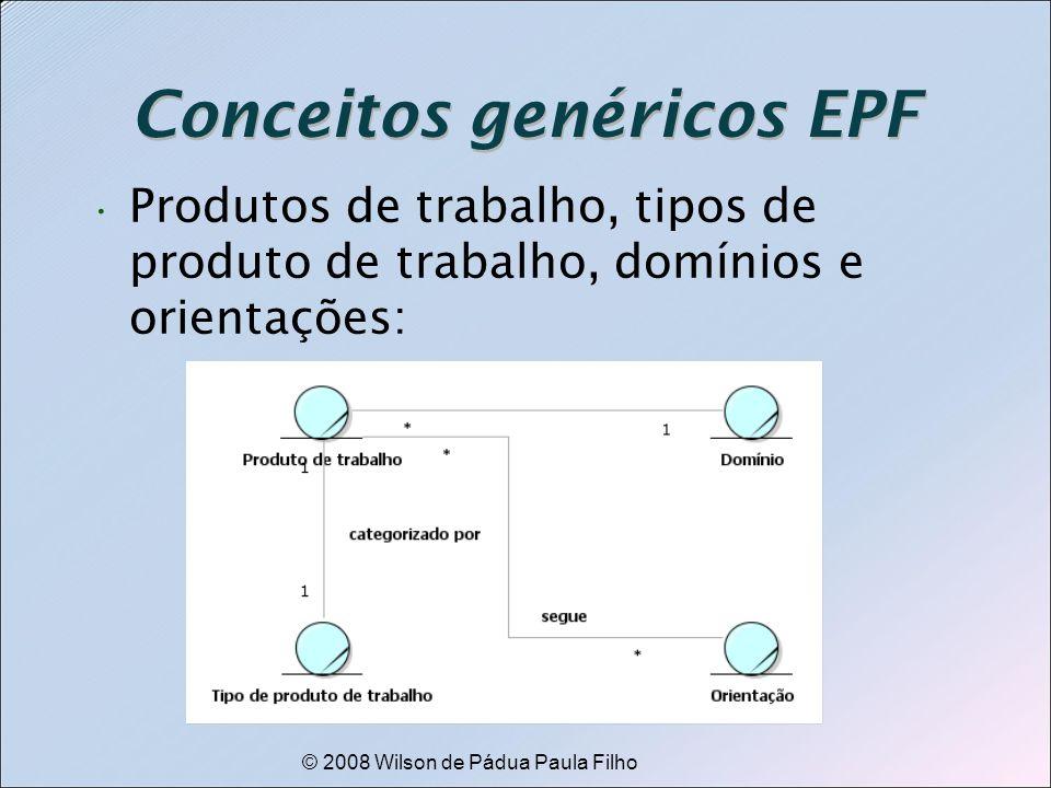 © 2008 Wilson de Pádua Paula Filho Conceitos genéricos EPF Produtos de trabalho, tipos de produto de trabalho, domínios e orientações: