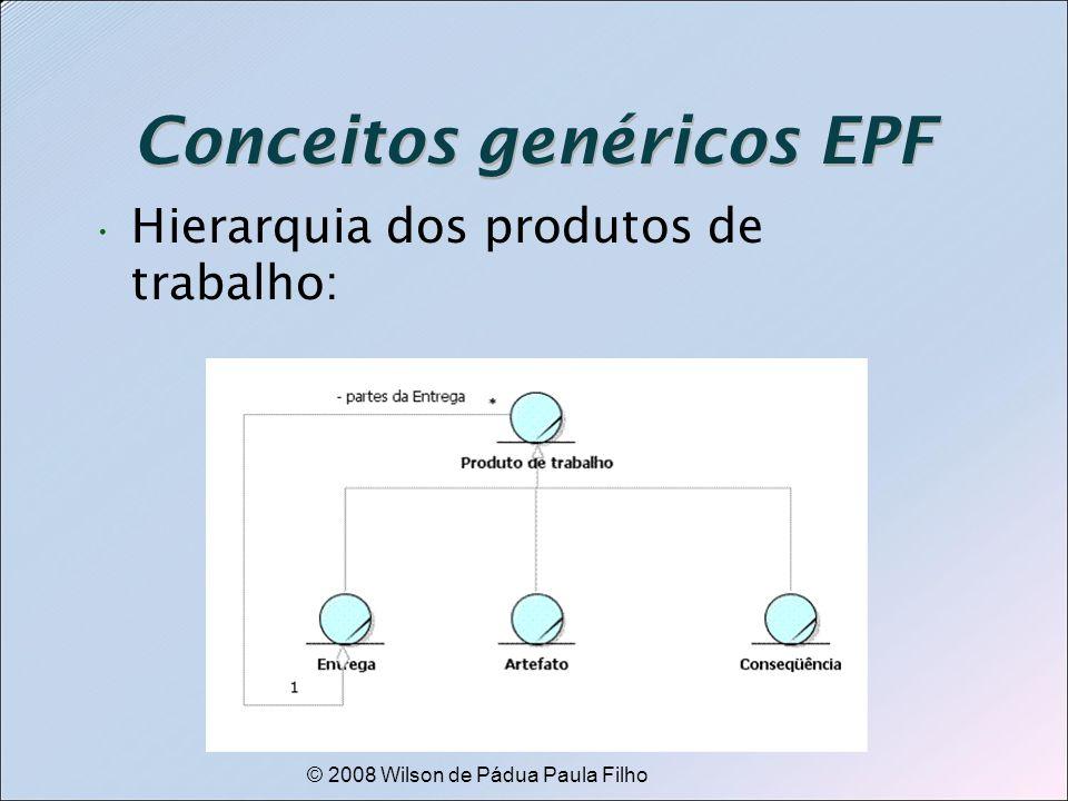 © 2008 Wilson de Pádua Paula Filho Conceitos genéricos EPF Hierarquia dos produtos de trabalho: