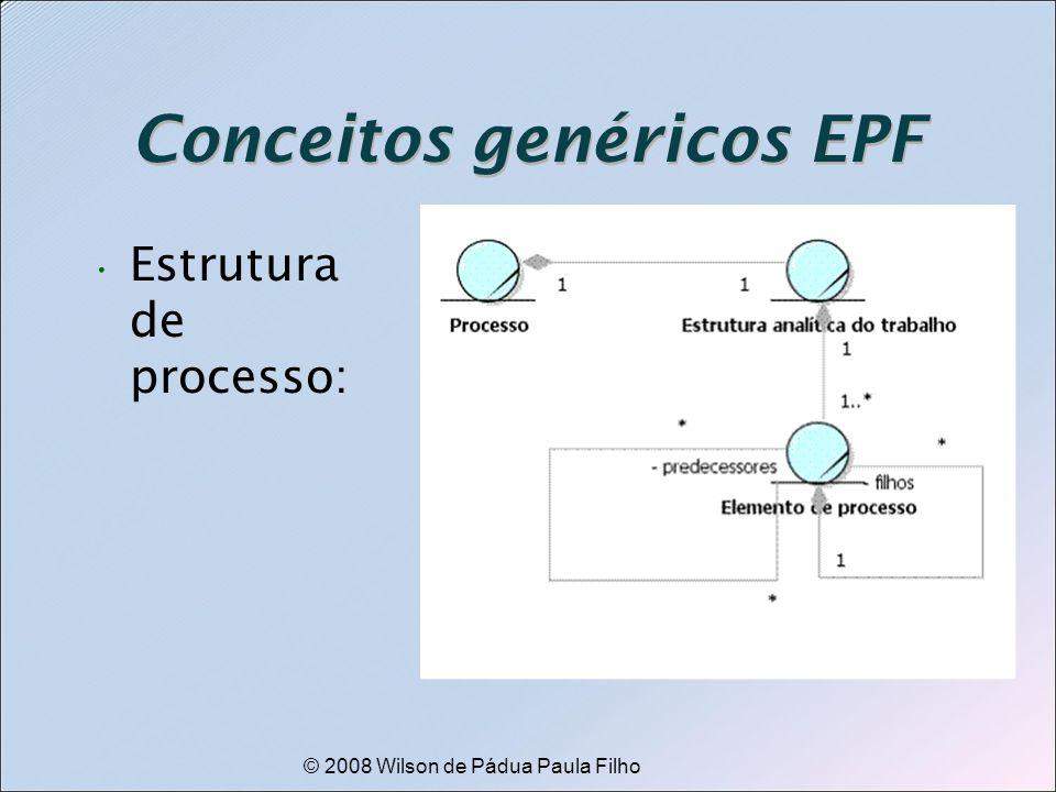© 2008 Wilson de Pádua Paula Filho Conceitos genéricos EPF Estrutura de processo: