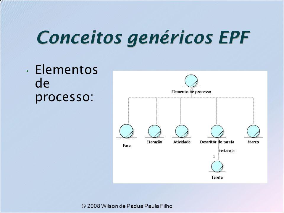 © 2008 Wilson de Pádua Paula Filho Conceitos genéricos EPF Elementos de processo: