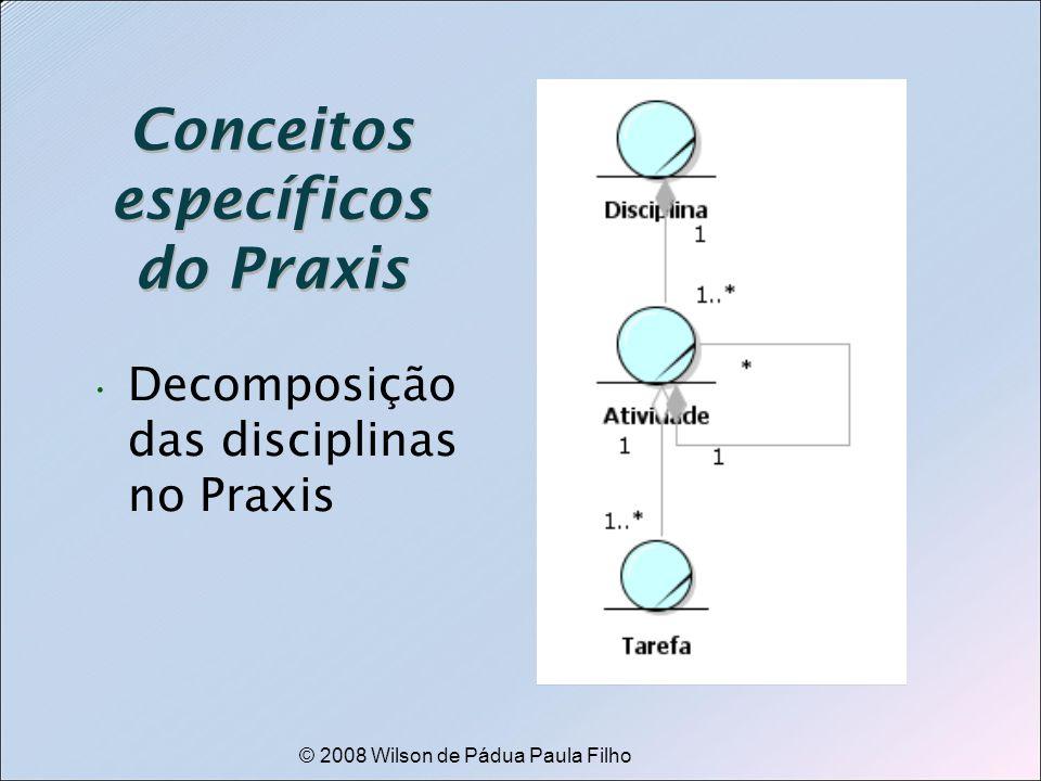 © 2008 Wilson de Pádua Paula Filho Conceitos específicos do Praxis Decomposição das disciplinas no Praxis