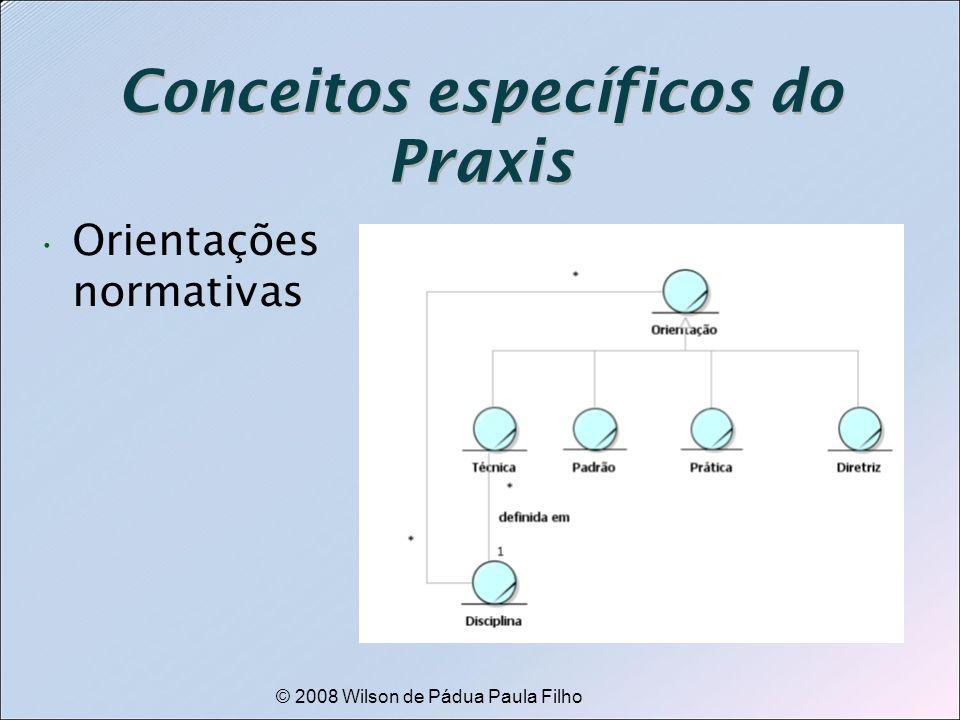 © 2008 Wilson de Pádua Paula Filho Conceitos específicos do Praxis Orientações normativas