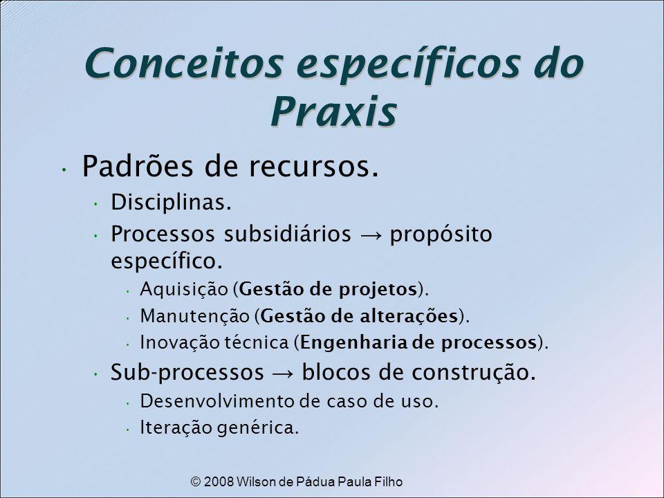 © 2008 Wilson de Pádua Paula Filho Conceitos específicos do Praxis Padrões de recursos. Disciplinas. Processos subsidiários propósito específico. Aqui
