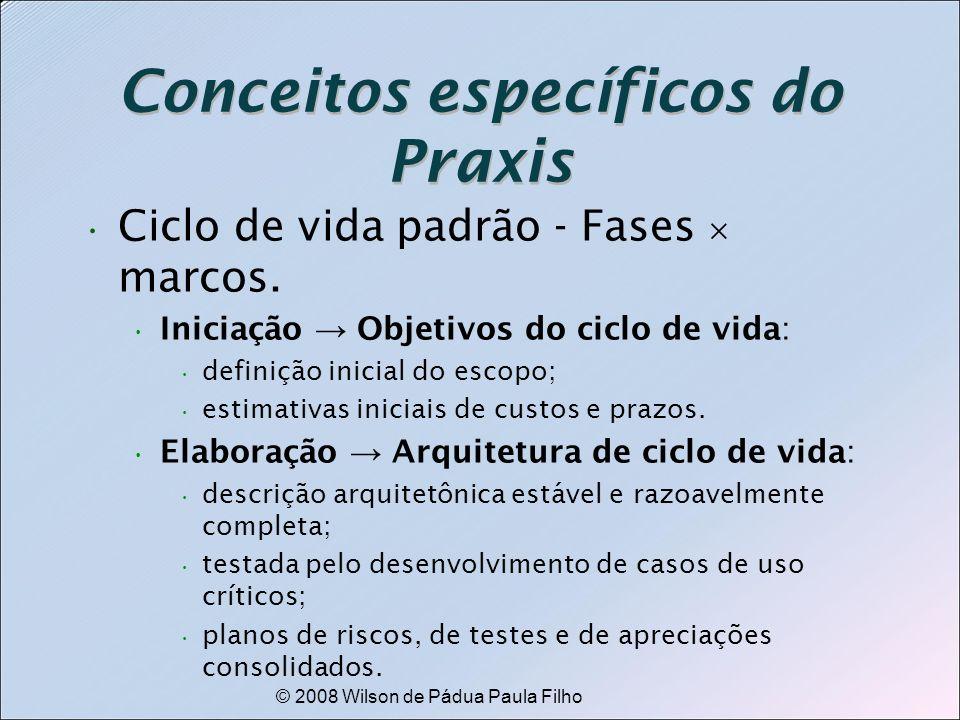 © 2008 Wilson de Pádua Paula Filho Conceitos específicos do Praxis Ciclo de vida padrão - Fases marcos. Iniciação Objetivos do ciclo de vida: definiçã