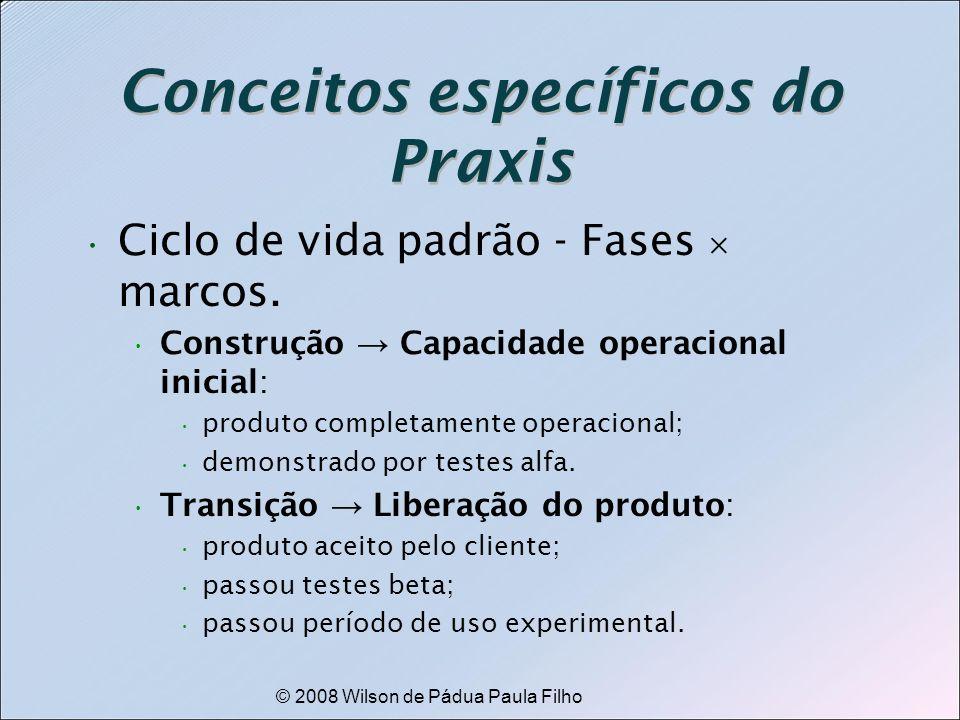 © 2008 Wilson de Pádua Paula Filho Conceitos específicos do Praxis Ciclo de vida padrão - Fases marcos. Construção Capacidade operacional inicial: pro