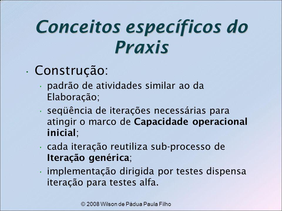© 2008 Wilson de Pádua Paula Filho Conceitos específicos do Praxis Construção: padrão de atividades similar ao da Elaboração; seqüência de iterações n