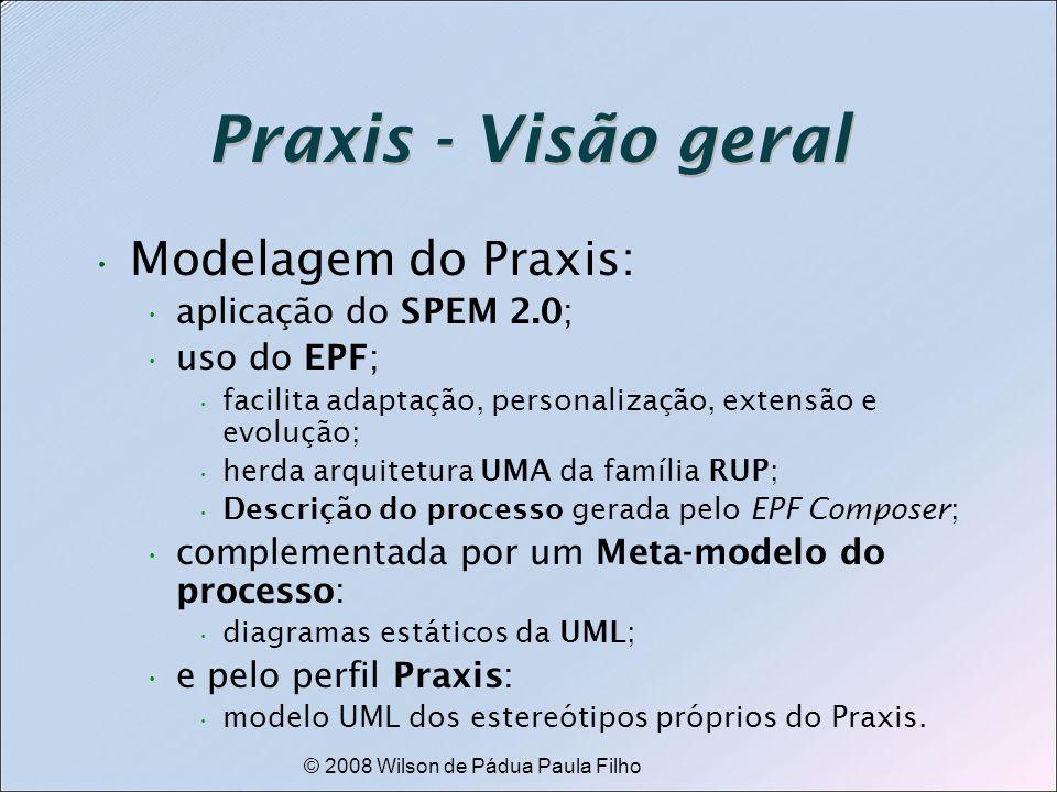 © 2008 Wilson de Pádua Paula Filho Praxis - Visão geral Modelagem do Praxis: aplicação do SPEM 2.0; uso do EPF; facilita adaptação, personalização, ex