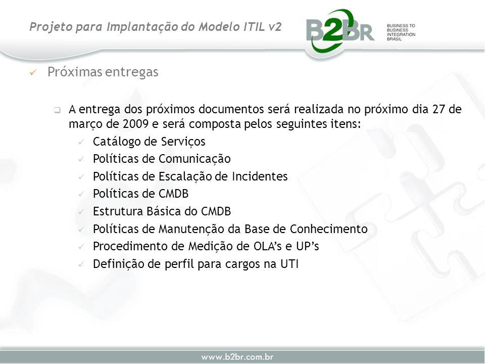Próximas entregas A entrega dos próximos documentos será realizada no próximo dia 27 de março de 2009 e será composta pelos seguintes itens: Catálogo