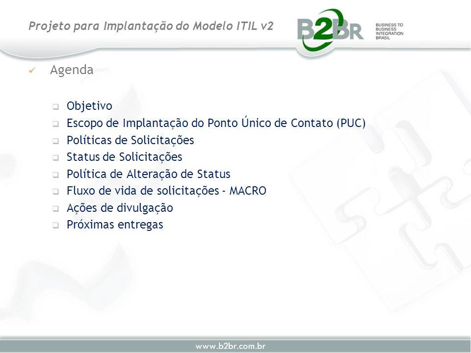 Projeto para Implantação do Modelo ITIL v2 Agenda Objetivo Escopo de Implantação do Ponto Único de Contato (PUC) Políticas de Solicitações Status de S
