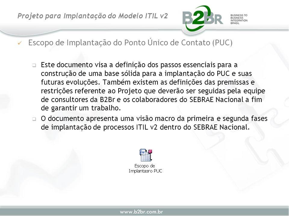 Escopo de Implantação do Ponto Único de Contato (PUC) Este documento visa a definição dos passos essenciais para a construção de uma base sólida para