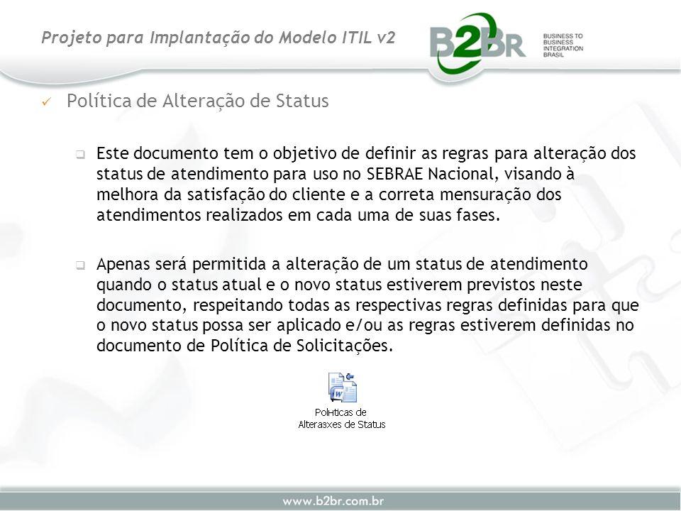 Política de Alteração de Status Este documento tem o objetivo de definir as regras para alteração dos status de atendimento para uso no SEBRAE Naciona