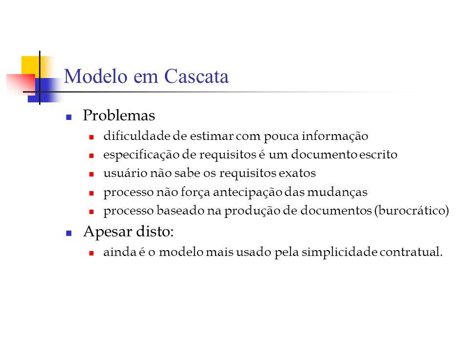 Modelo em Cascata Problemas dificuldade de estimar com pouca informação especificação de requisitos é um documento escrito usuário não sabe os requisi