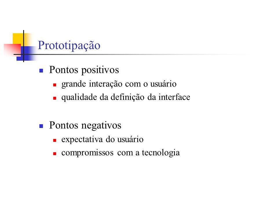 Prototipação Pontos positivos grande interação com o usuário qualidade da definição da interface Pontos negativos expectativa do usuário compromissos