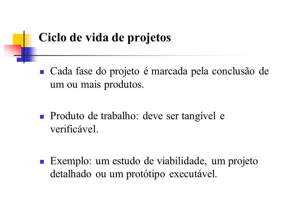 Ciclo de vida de projetos Cada fase do projeto é marcada pela conclusão de um ou mais produtos. Produto de trabalho: deve ser tangível e verificável.