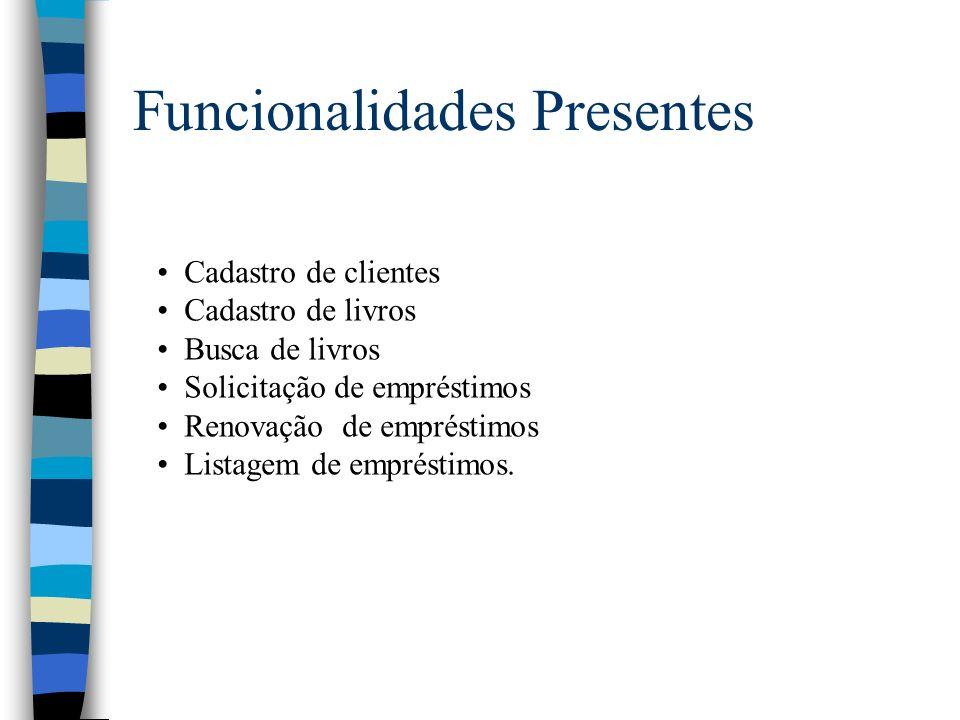 Funcionalidades Presentes Cadastro de clientes Cadastro de livros Busca de livros Solicitação de empréstimos Renovação de empréstimos Listagem de empr