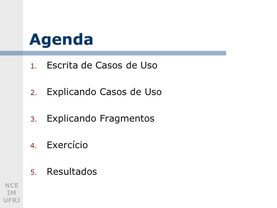 NCE IM UFRJ Agenda 1. Escrita de Casos de Uso 2. Explicando Casos de Uso 3.