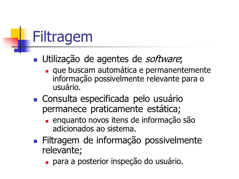 Filtragem Utilização de agentes de software; que buscam automática e permanentemente informação possivelmente relevante para o usuário.