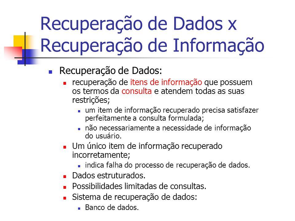Recuperação de Dados x Recuperação de Informação Recuperação de Dados: recuperação de itens de informação que possuem os termos da consulta e atendem todas as suas restrições; um item de informação recuperado precisa satisfazer perfeitamente a consulta formulada; não necessariamente a necessidade de informação do usuário.