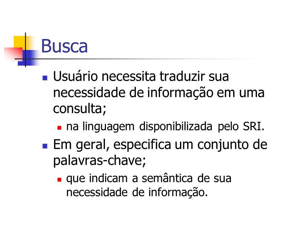 Busca Usuário necessita traduzir sua necessidade de informação em uma consulta; na linguagem disponibilizada pelo SRI.