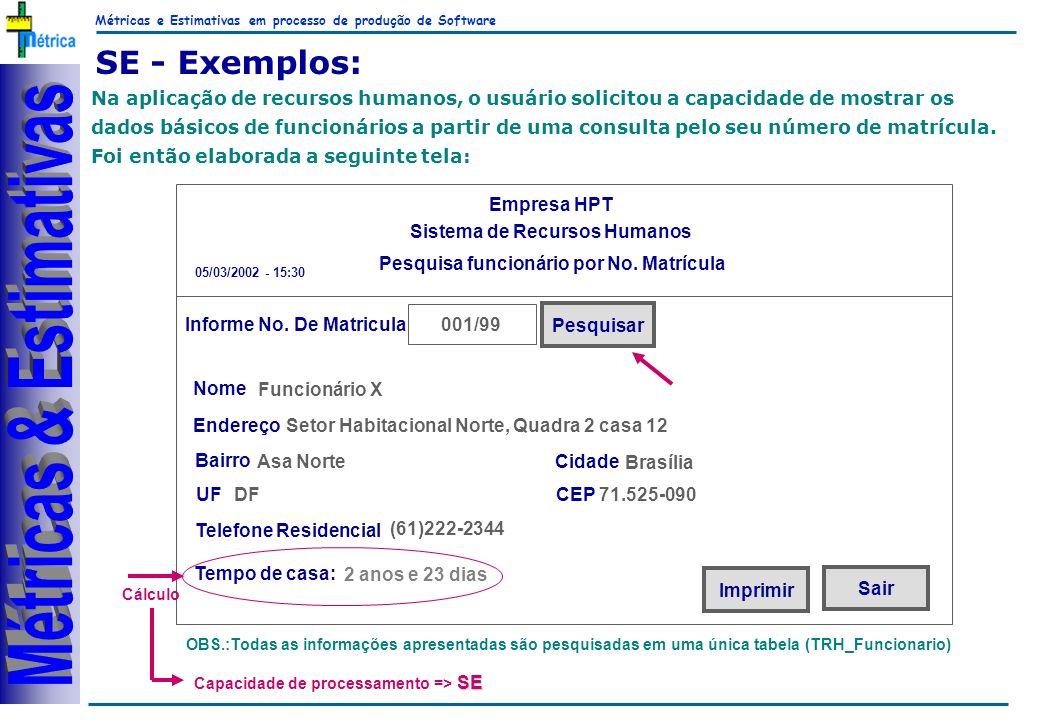 Métricas e Estimativas em processo de produção de Software RiKos SE - Exemplos: 001/99 Na aplicação de recursos humanos, o usuário solicitou a capacidade de mostrar os dados básicos de funcionários a partir de uma consulta pelo seu número de matrícula.