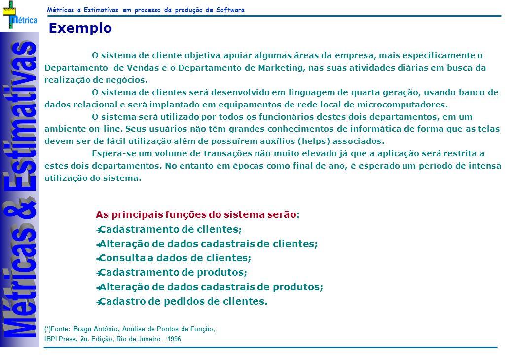 Métricas e Estimativas em processo de produção de Software RiKos Exemplo (*)Fonte: Braga Antônio, Análise de Pontos de Função, IBPI Press, 2a.