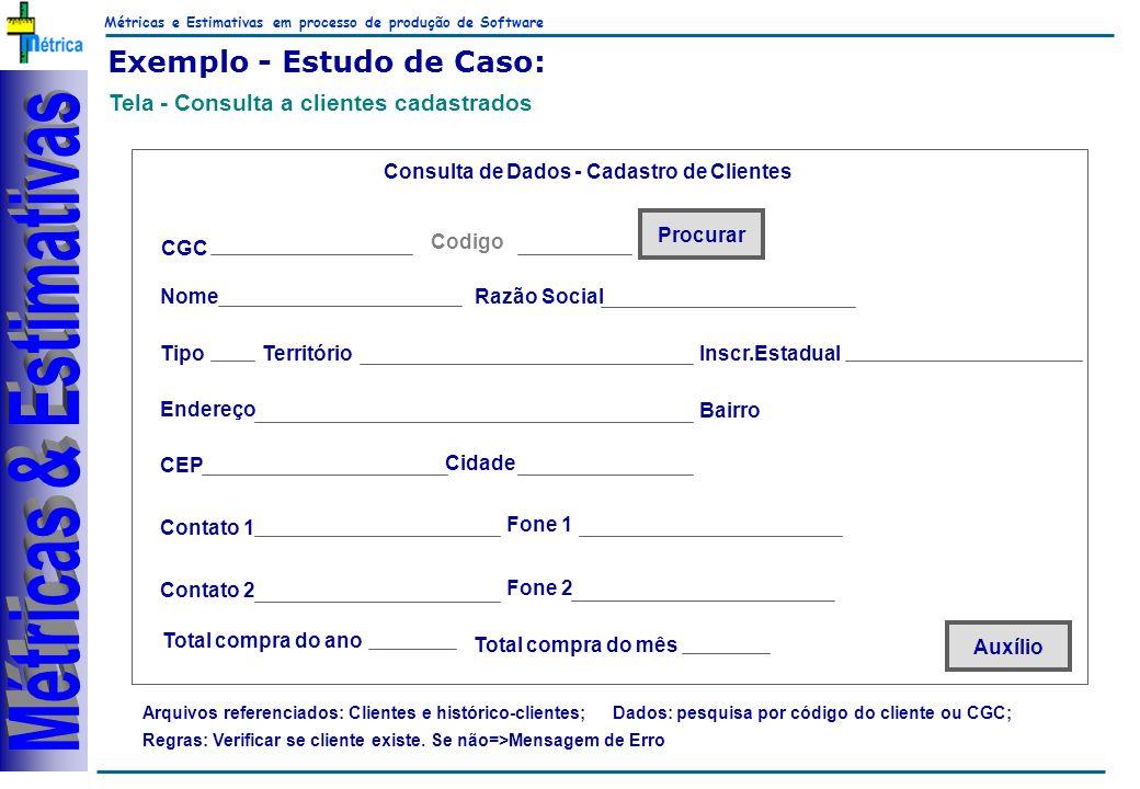 Métricas e Estimativas em processo de produção de Software RiKos Exemplo - Estudo de Caso: Tela - Consulta a clientes cadastrados Arquivos referenciad