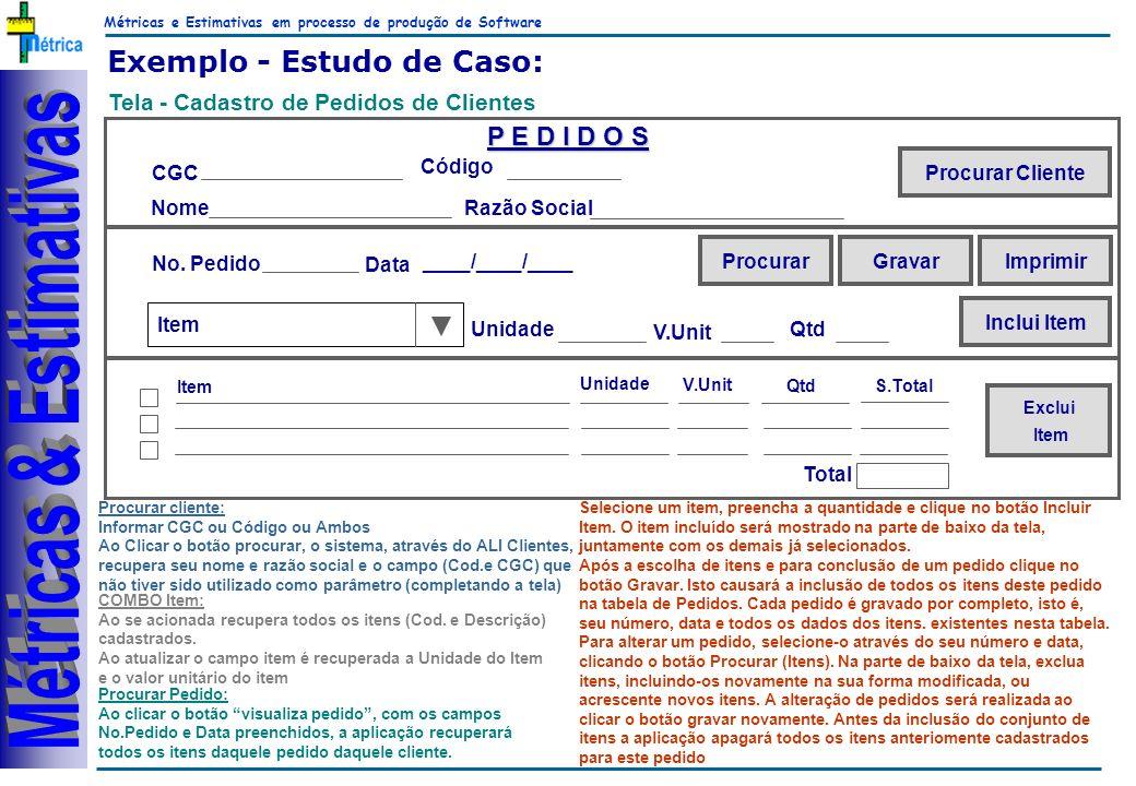 Métricas e Estimativas em processo de produção de Software RiKos Exemplo - Estudo de Caso: Tela - Cadastro de Pedidos de Clientes Procurar cliente: Informar CGC ou Código ou Ambos Ao Clicar o botão procurar, o sistema, através do ALI Clientes, recupera seu nome e razão social e o campo (Cod.e CGC) que não tiver sido utilizado como parâmetro (completando a tela) Procurar Pedido: Ao clicar o botão visualiza pedido, com os campos No.Pedido e Data preenchidos, a aplicação recuperará todos os itens daquele pedido daquele cliente.