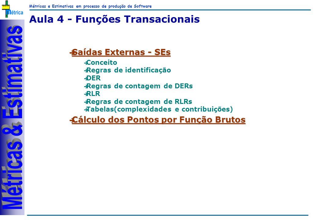 Métricas e Estimativas em processo de produção de Software RiKos Aula 4 - Funções Transacionais Saídas Externas - SEs Saídas Externas - SEs è Conceito