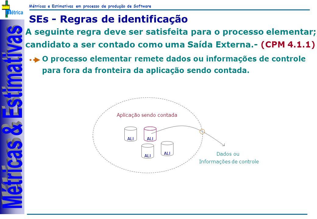 Métricas e Estimativas em processo de produção de Software RiKos SEs - Regras de identificação A seguinte regra deve ser satisfeita para o processo el