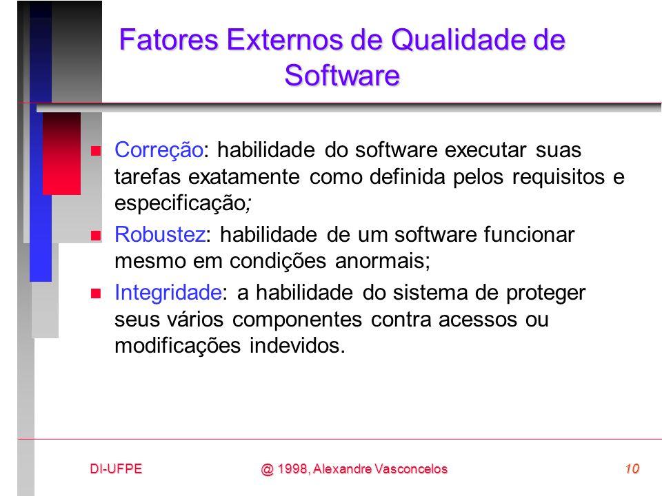 DI-UFPE10@ 1998, Alexandre Vasconcelos Fatores Externos de Qualidade de Software n Correção: habilidade do software executar suas tarefas exatamente c