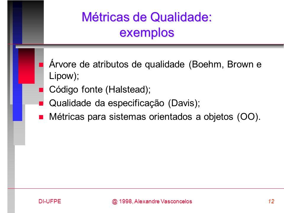 DI-UFPE12@ 1998, Alexandre Vasconcelos Métricas de Qualidade: exemplos n Árvore de atributos de qualidade (Boehm, Brown e Lipow); n Código fonte (Hals