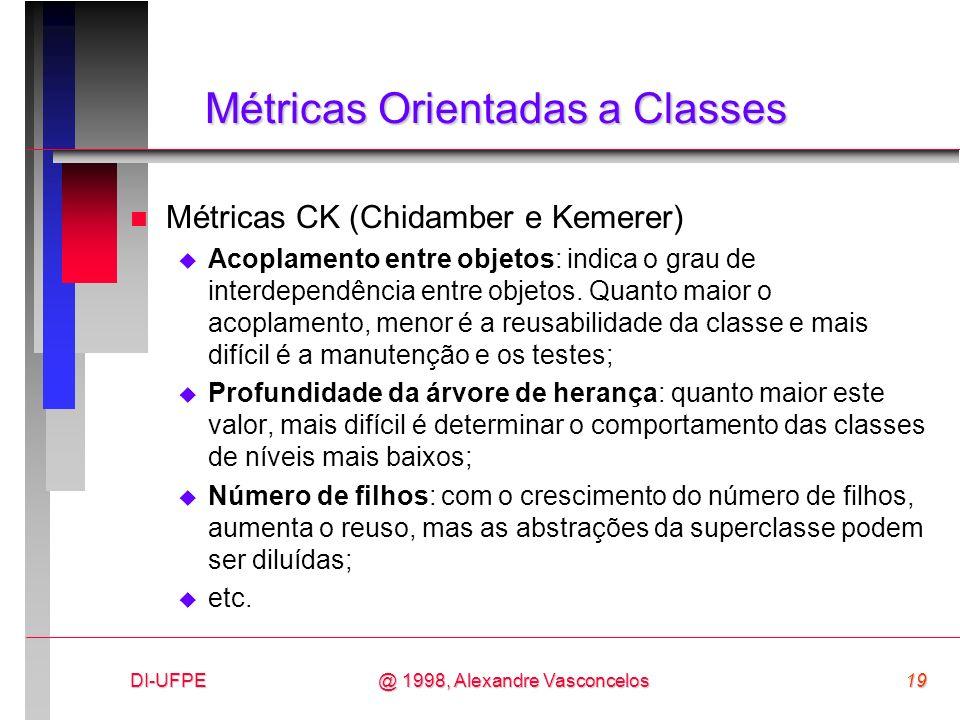 DI-UFPE19@ 1998, Alexandre Vasconcelos Métricas Orientadas a Classes n Métricas CK (Chidamber e Kemerer) Acoplamento entre objetos: indica o grau de i