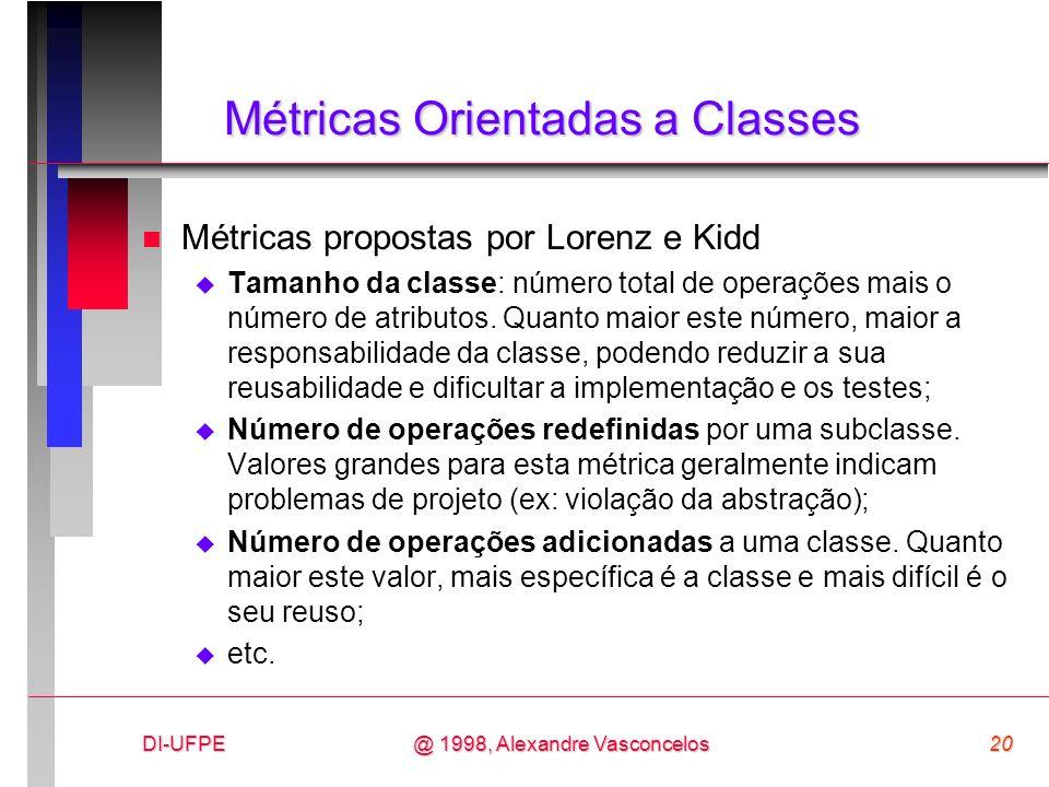 DI-UFPE20@ 1998, Alexandre Vasconcelos Métricas Orientadas a Classes n Métricas propostas por Lorenz e Kidd Tamanho da classe: número total de operaçõ