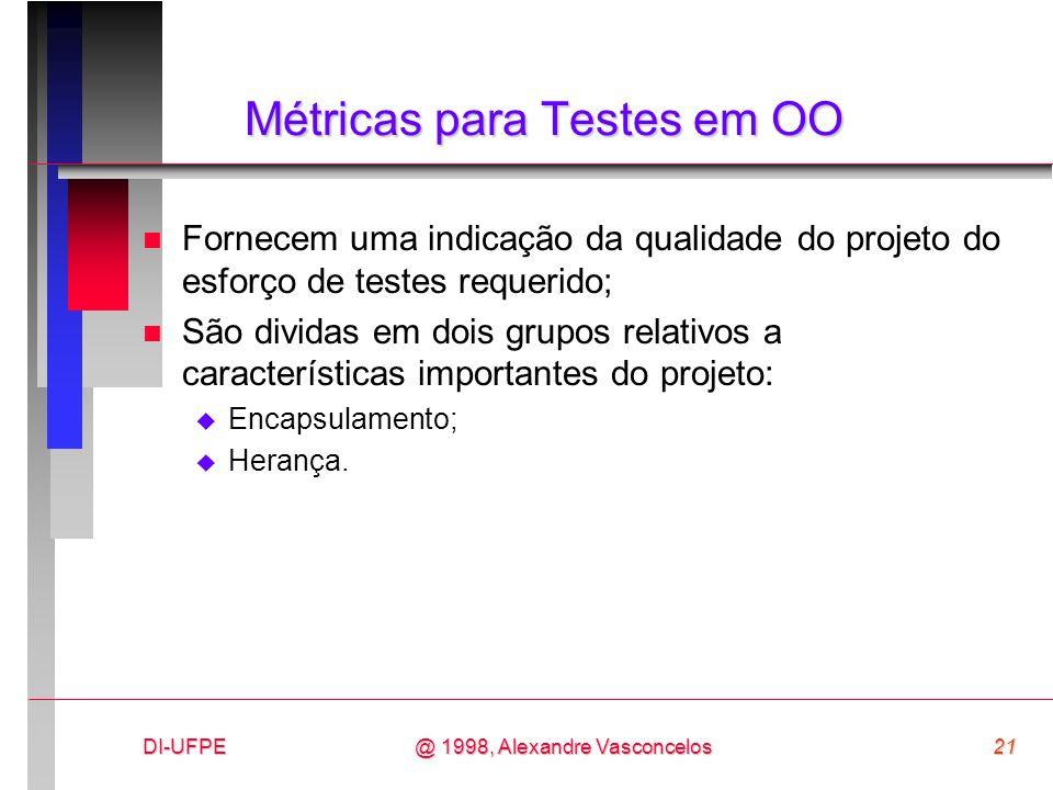 DI-UFPE21@ 1998, Alexandre Vasconcelos Métricas para Testes em OO n Fornecem uma indicação da qualidade do projeto do esforço de testes requerido; n S