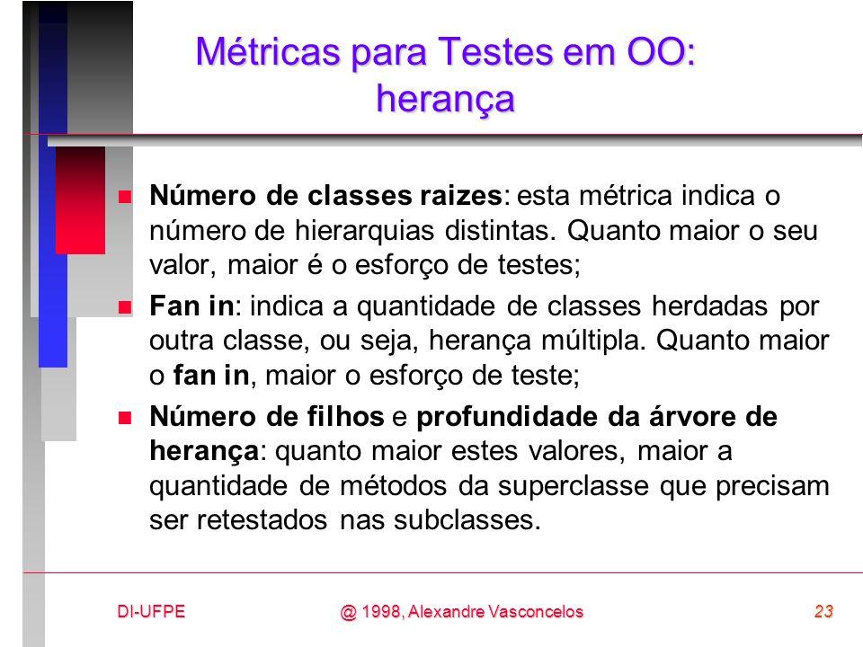 DI-UFPE23@ 1998, Alexandre Vasconcelos Métricas para Testes em OO: herança n Número de classes raizes: esta métrica indica o número de hierarquias dis