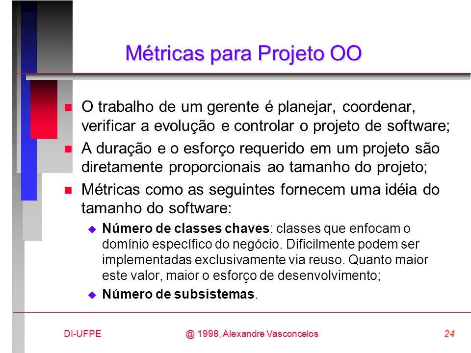 DI-UFPE24@ 1998, Alexandre Vasconcelos Métricas para Projeto OO n O trabalho de um gerente é planejar, coordenar, verificar a evolução e controlar o p