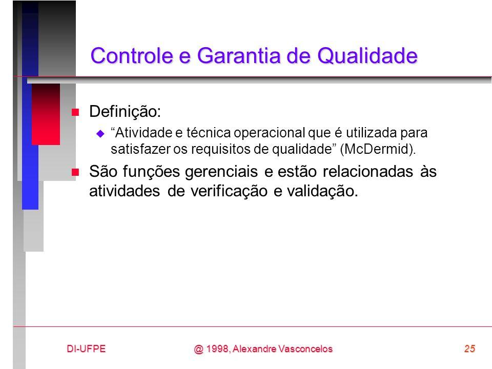 DI-UFPE25@ 1998, Alexandre Vasconcelos Controle e Garantia de Qualidade n Definição: Atividade e técnica operacional que é utilizada para satisfazer o