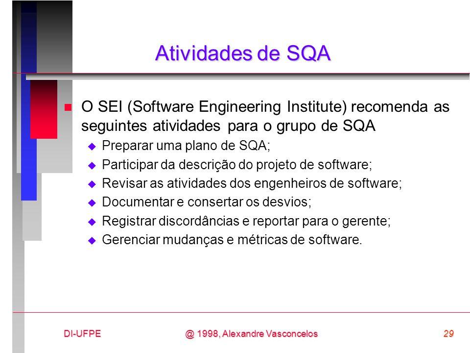 DI-UFPE29@ 1998, Alexandre Vasconcelos Atividades de SQA n O SEI (Software Engineering Institute) recomenda as seguintes atividades para o grupo de SQ