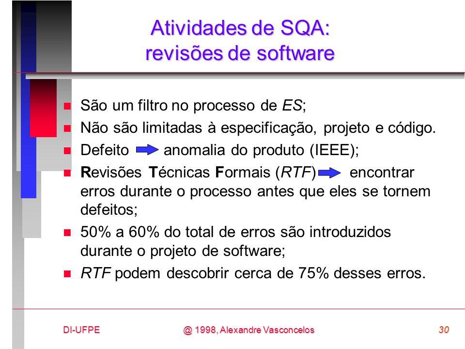 DI-UFPE30@ 1998, Alexandre Vasconcelos Atividades de SQA: revisões de software n São um filtro no processo de ES; n Não são limitadas à especificação,