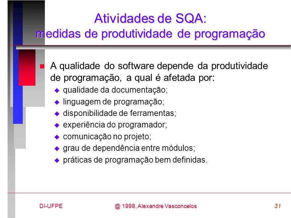 DI-UFPE31@ 1998, Alexandre Vasconcelos Atividades de SQA: medidas de produtividade de programação n A qualidade do software depende da produtividade d