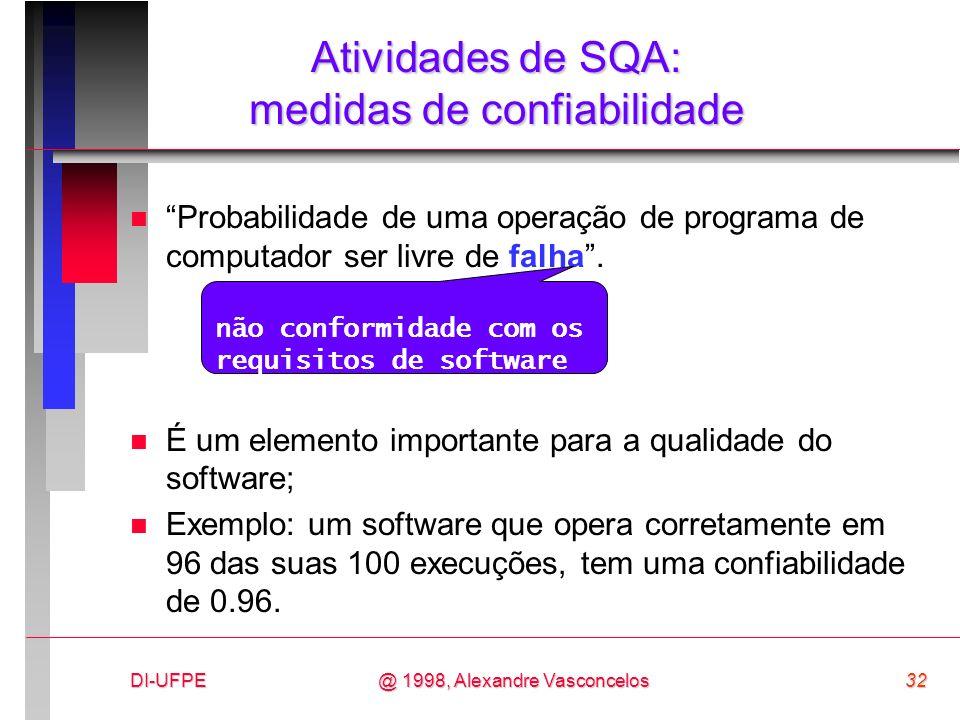 DI-UFPE32@ 1998, Alexandre Vasconcelos Atividades de SQA: medidas de confiabilidade n Probabilidade de uma operação de programa de computador ser livr