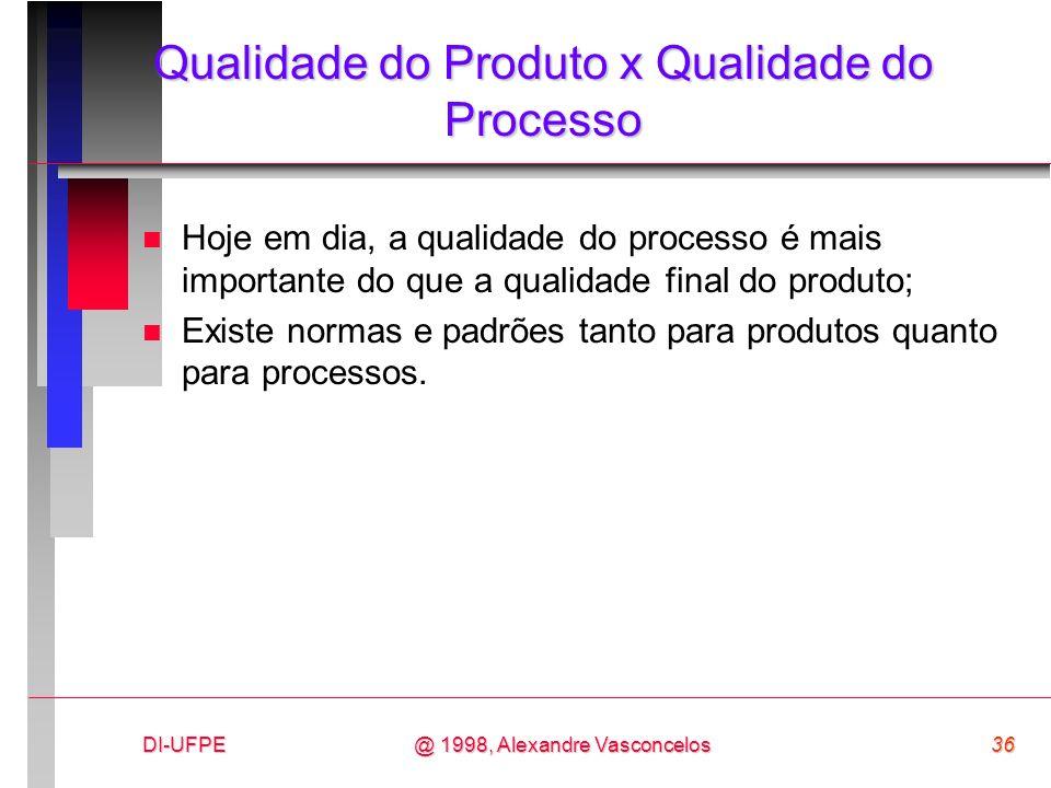 DI-UFPE36@ 1998, Alexandre Vasconcelos Qualidade do Produto x Qualidade do Processo n Hoje em dia, a qualidade do processo é mais importante do que a