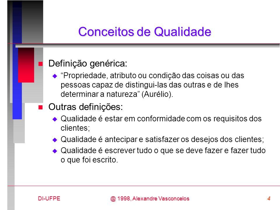 DI-UFPE4@ 1998, Alexandre Vasconcelos Conceitos de Qualidade n Definição genérica: Propriedade, atributo ou condição das coisas ou das pessoas capaz d