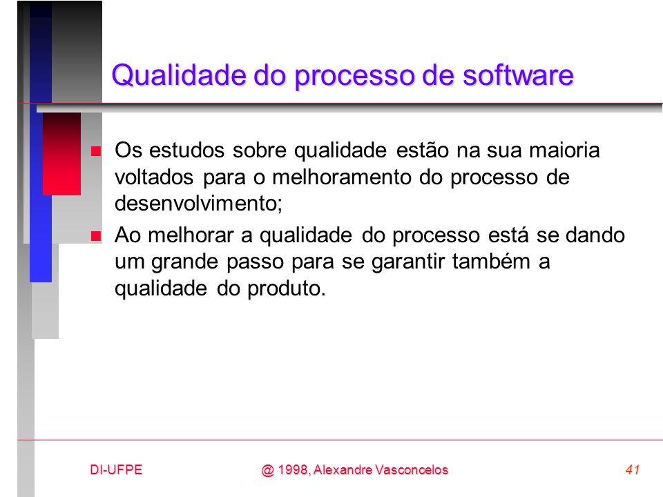 DI-UFPE41@ 1998, Alexandre Vasconcelos Qualidade do processo de software n Os estudos sobre qualidade estão na sua maioria voltados para o melhorament