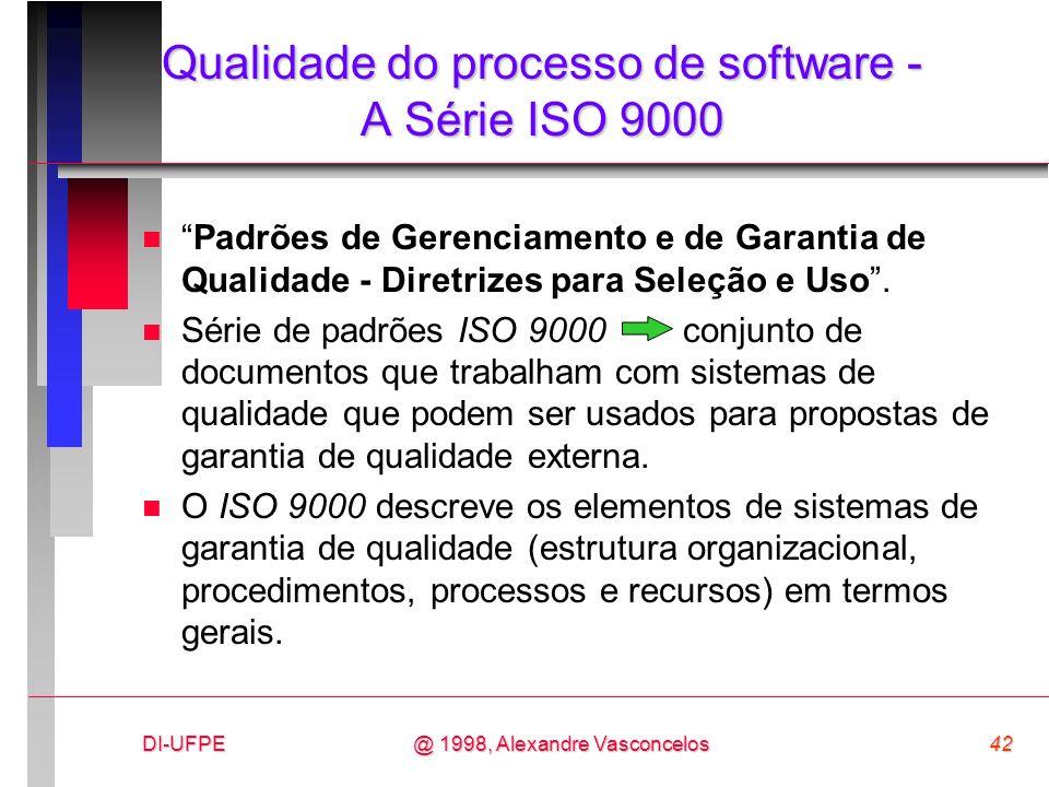 DI-UFPE42@ 1998, Alexandre Vasconcelos Qualidade do processo de software - A Série ISO 9000 nPadrões de Gerenciamento e de Garantia de Qualidade - Dir
