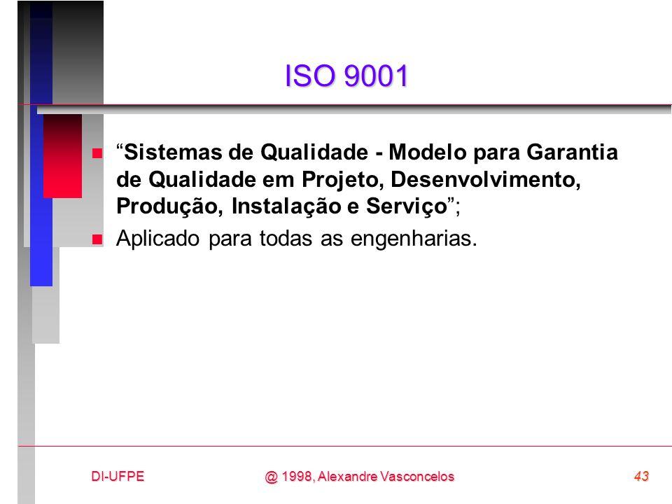 DI-UFPE43@ 1998, Alexandre Vasconcelos ISO 9001 nSistemas de Qualidade - Modelo para Garantia de Qualidade em Projeto, Desenvolvimento, Produção, Inst