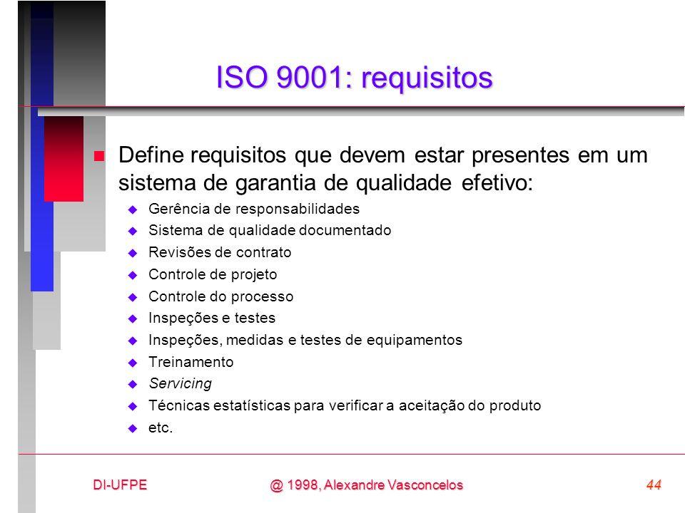 DI-UFPE44@ 1998, Alexandre Vasconcelos ISO 9001: requisitos n Define requisitos que devem estar presentes em um sistema de garantia de qualidade efeti